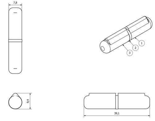 Lift Off Bullet Hinge Weld On Brass Bush 8x40mm Heavy Duty Door Hatch 2PK