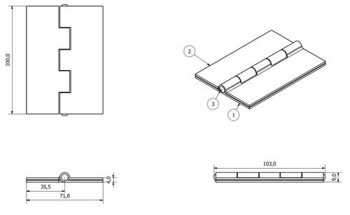 4 Pack Double Pressed Steel Butt Hinge Heavy Duty Industrial 72x101mm