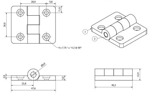 2 Pack Black Polymide Hinge Reinforced Plastic 40x48mm Italian Made Industrial