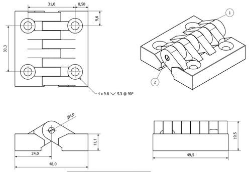 2 Pack Black Polymide Hinge Reinforced Plastic 48x49mm Italian Made Industrial
