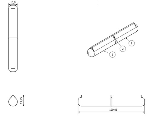 2 Pack Lift Off Bullet Hinge Weld On Brass Bush 16x120mm Heavy Duty Industrial