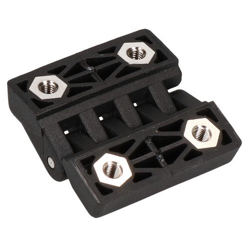 Pack 4 Black Polymide Hinge Reinforced Plastic 48x49mm Italian Concealed Fixing