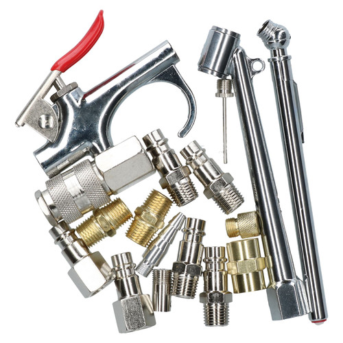 17pc Euro Air Tool Compressor Air Line Fittings Accessory Kit Blow Gun Inflator