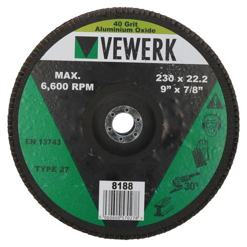 "40 Grit Flap Discs Sanding Grinding Rust removing for 9"" (230mm) Grinders 4 PK"