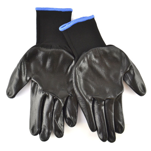 """5PK 10.5"""" Nitrile Coated Work Gloves (5 Pairs) Breathable / Improved Grip Blade"""