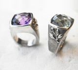 Takohl cocktail ring checkerboard cut amethyst sterling silver rose band