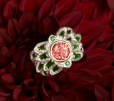 Takohl Regemeration Flower Ring tourmaline and garnet leaf ring