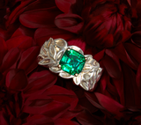 Takohl sterling silver garden ring emerald