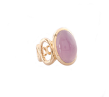 Takohl oval band ring polished oval band, set large oval chalcedony cabochon 14K yellow gold.