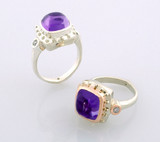 Takohl Guinevere ring purple amethyst cabochon modern medieval vintage ring