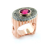 14k rose gold and white gold designer ring from Takohl Fine Jewelry 2.43 Pink Spinel above a ring of diamonds