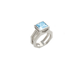 Takohl Geometric ring 14K white gold and aquamarine customizable