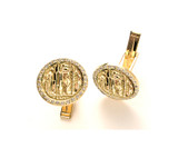 Takohl Gold and Diamond Skyline Cufflinks