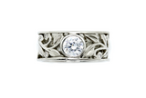 Takohl Floral Band Ring 14K White Gold