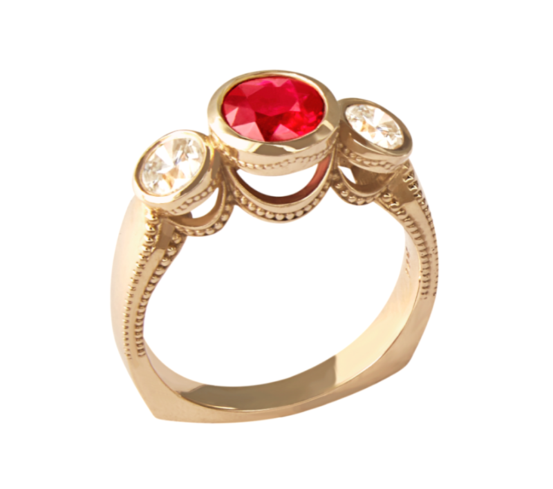 Takohl Burmese Ruby Ring 14K Yellow Gold and Diamond