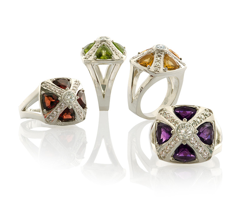 Byzantine modern medieval ring with  semi-precious gemstones silver with garnet, peridot, citrine or amethyst
