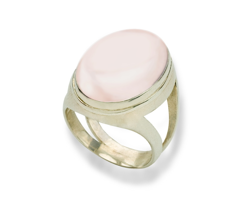 Takohl Dome Ring sterling silver and chalcedony cabochon