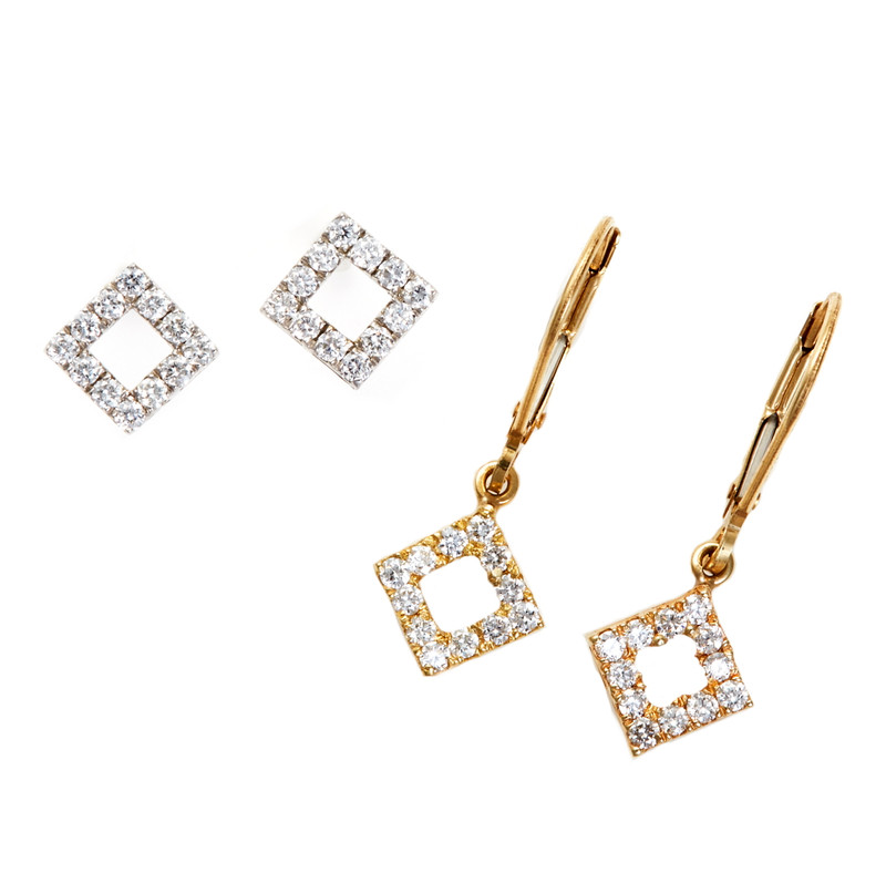 Takohl Square Diamond Earrings
