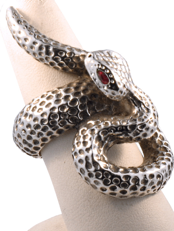 Takohl Large Sterling Silver Snake Ring with Ruby Eyes