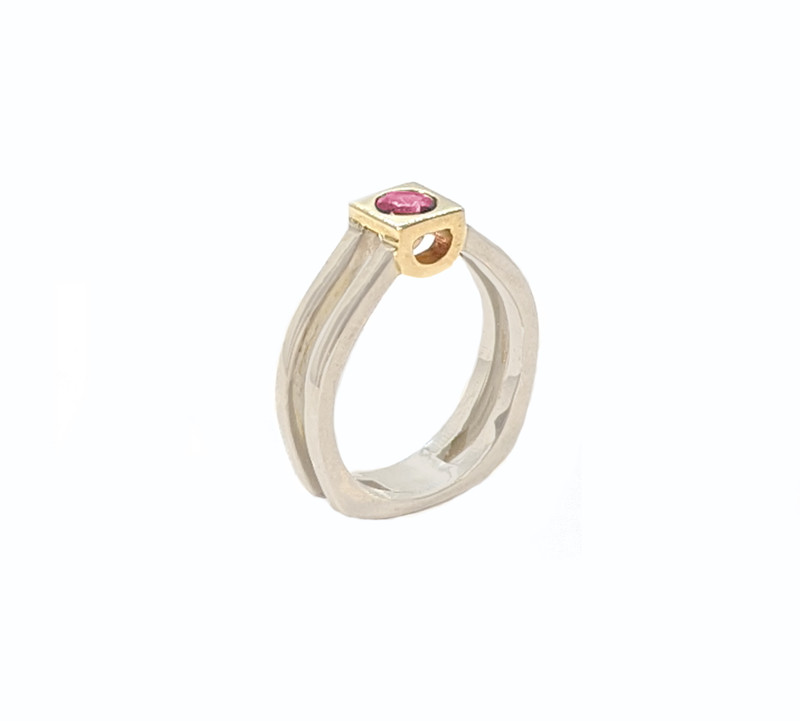 Takohl silver and pink tourmaline ring