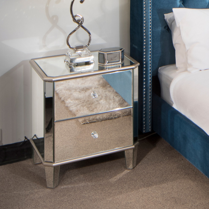 Limoge Mirrored Bedside Table