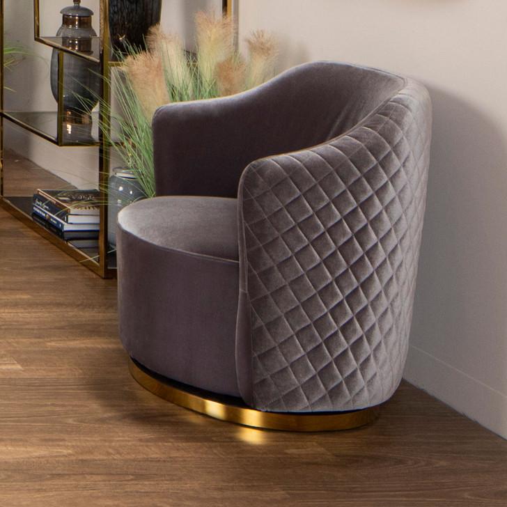 Rod Swivel Chair in Grey Velvet