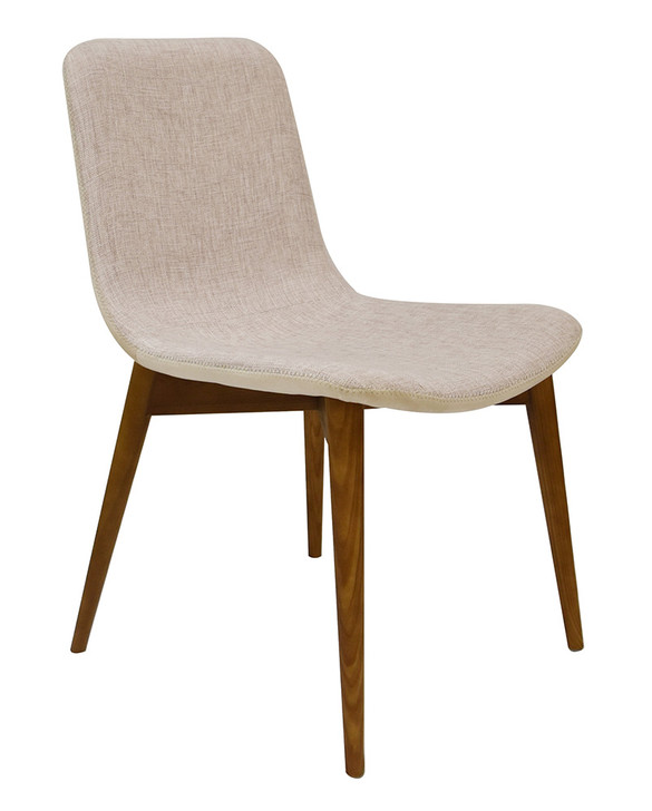 Francis Ivory Dining Chair with Walnut Legs