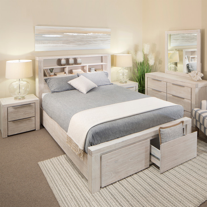 Avoca Bedroom Suite in White Cedar Timber with Brushed White Finish