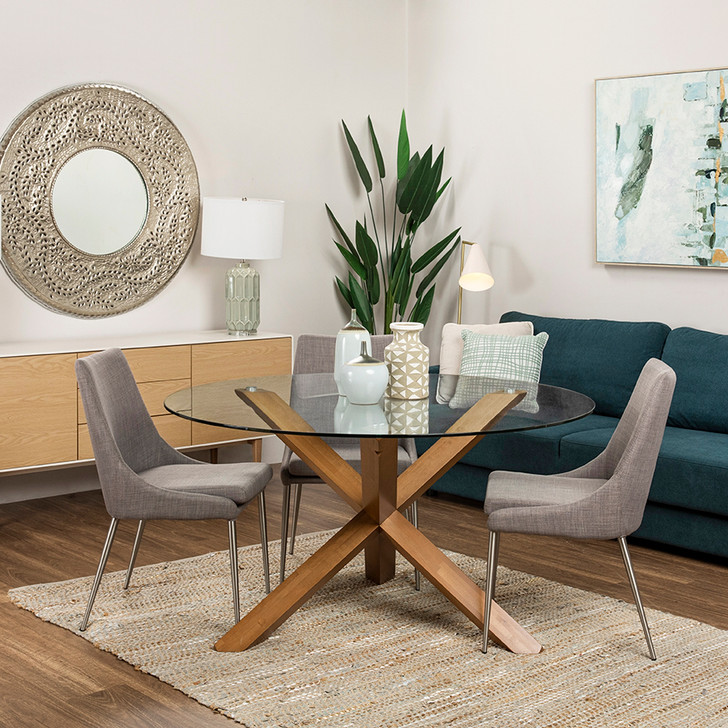 Cowell Honey Oak Dining Table with York Coffee Chairs