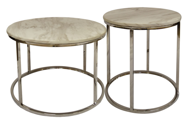 Abbey Large & Small Coffee Tables in White Stone with Stainless Steel Bases