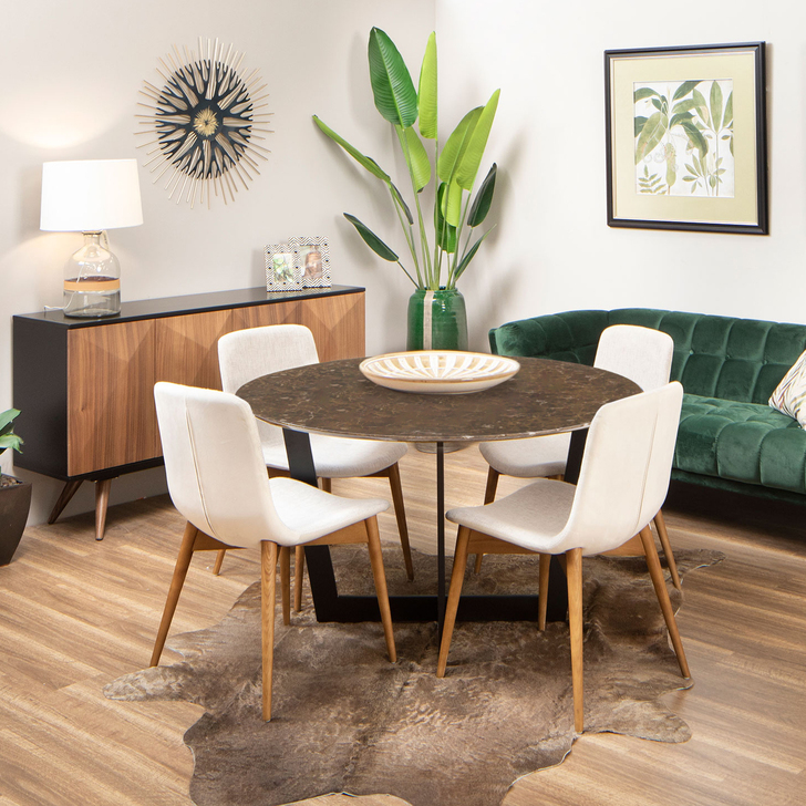 Cherry Round Marble Dining Table with Francis Chairs