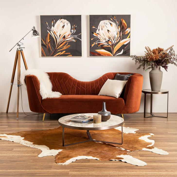 Feya 3 Seater Terracotta Velvet Sofa