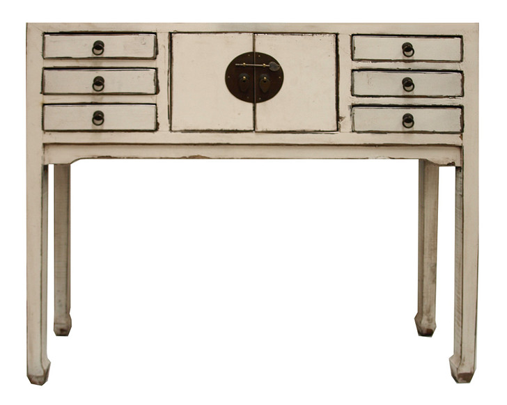 R081 - 2 Door 6 Drawer Console