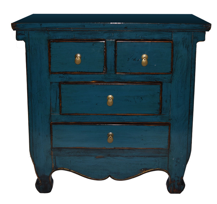 L014 - Handcrafted 4 Drawer Blue Cabinet