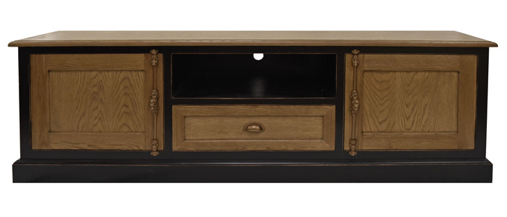 Florence Entertainment Unit in Natural Timber & Black