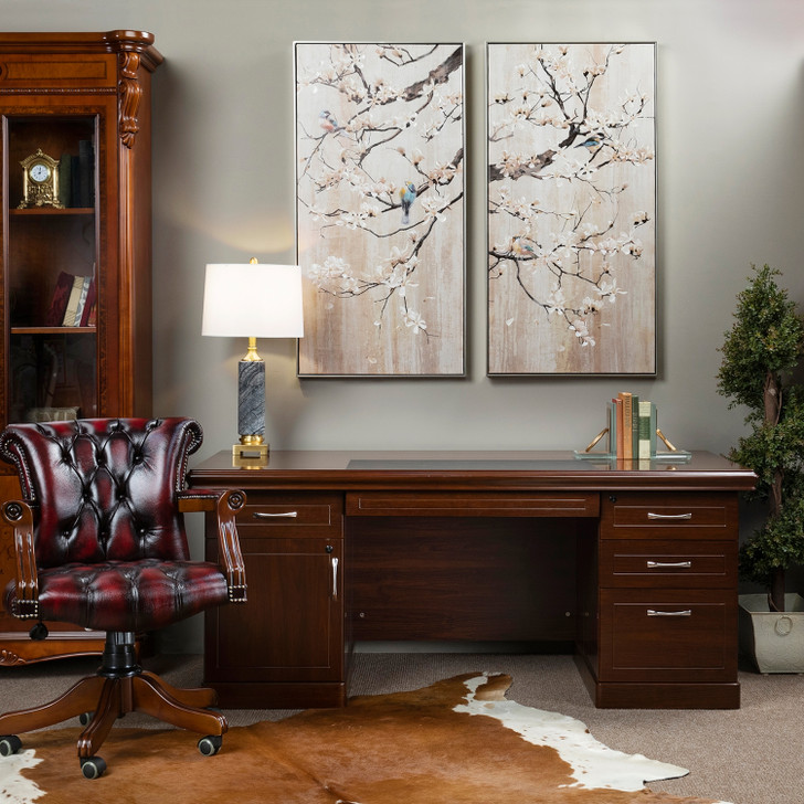 Curie Office Desk with Beethoven 2 Door Bookcase