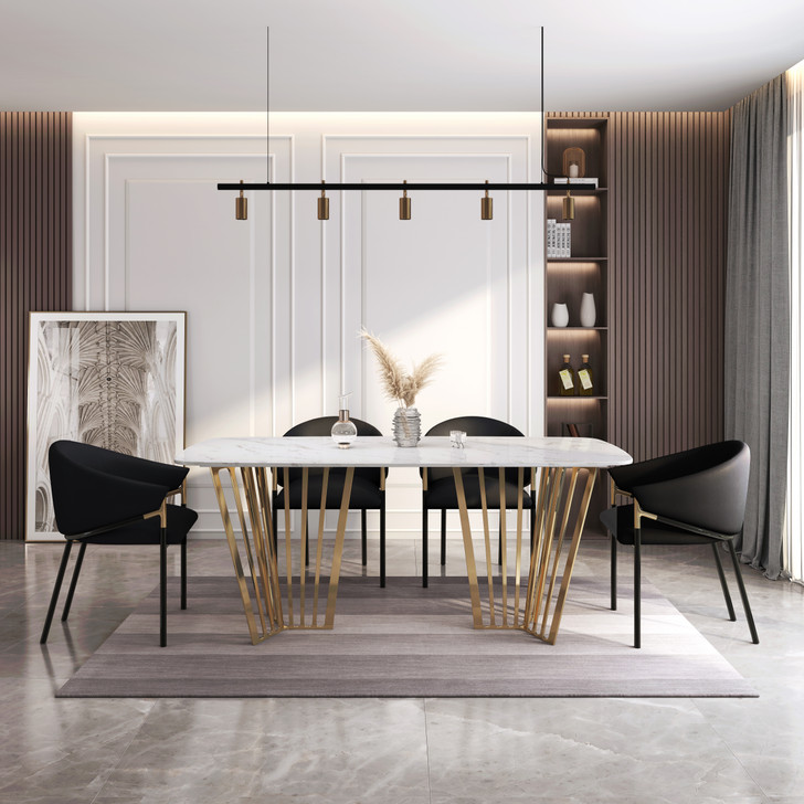 Napoli Dining Table with Black Elsa Chairs