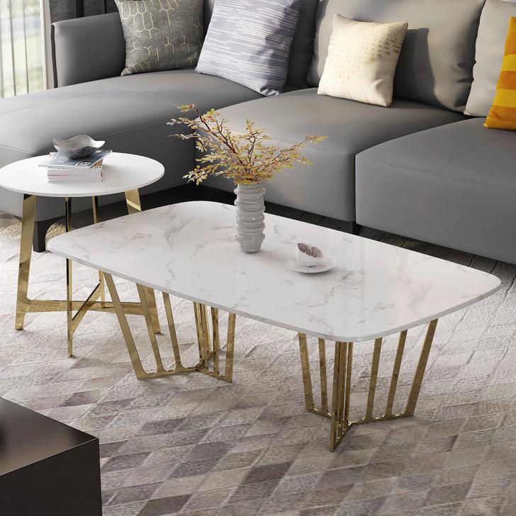 Napoli White Stone Coffee Table