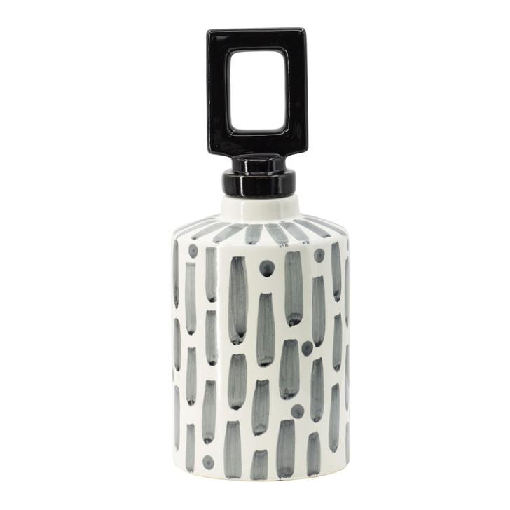 Small black & white ceramic jar w/lid