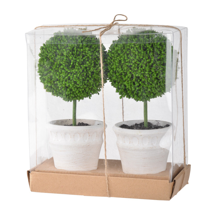 Pair of mini faux topiaries with cream pots