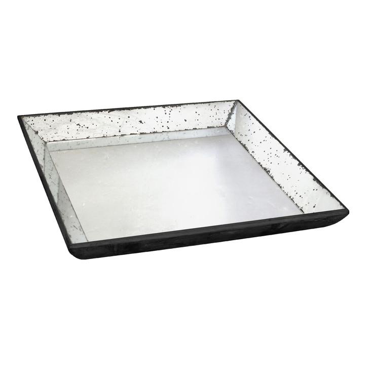 Rustic black glass tray square