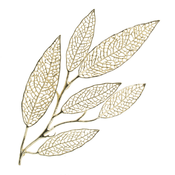 Large leaf wall art in gold finish