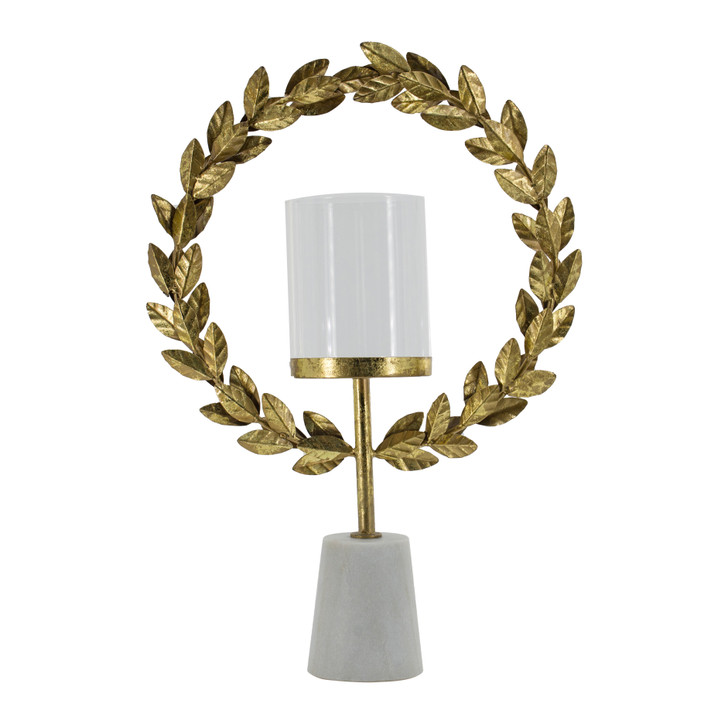 Gold floral hurricane with glass candleholder & white marble base