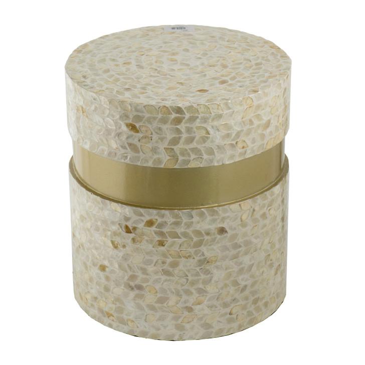 Ivory capiz stool with gold band