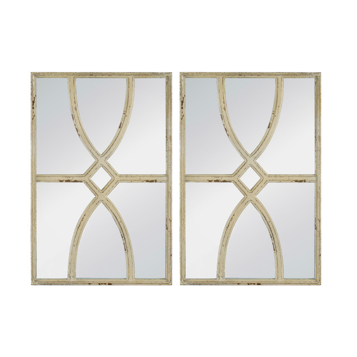Set of 2 carved rectangular wall mirrors, in antique white finish
