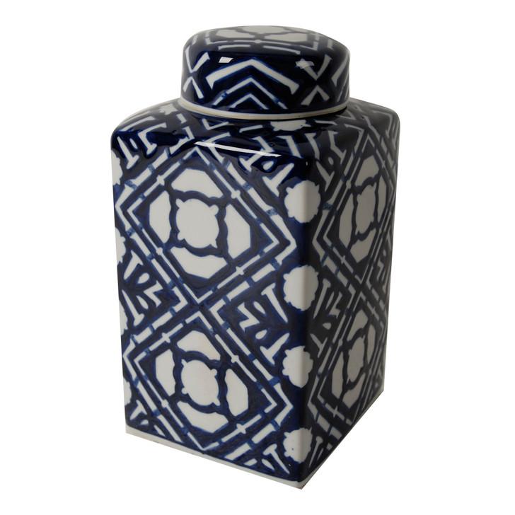 Valora blue & white porcelain square jar