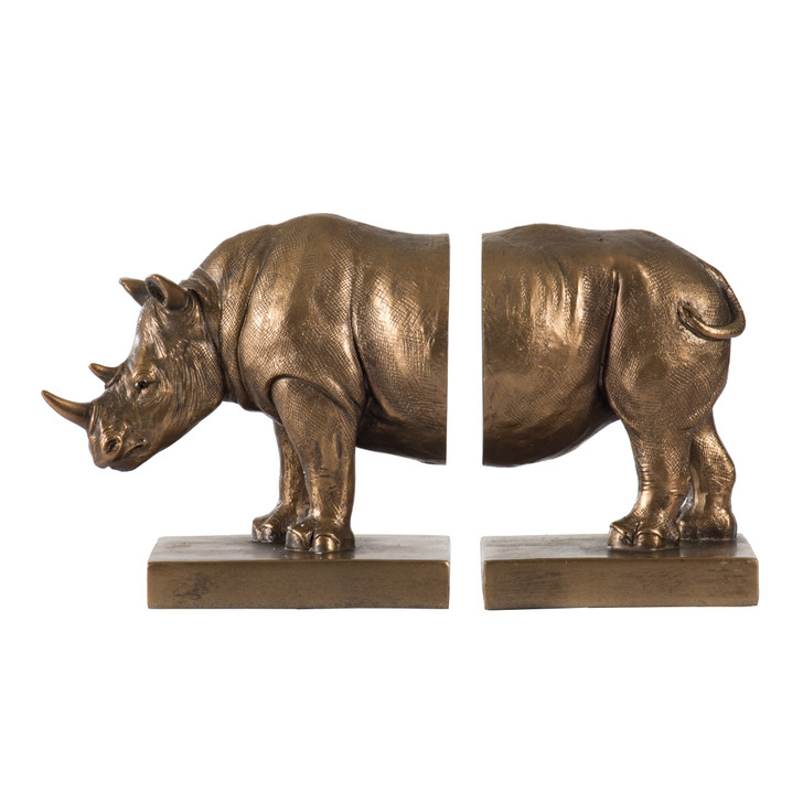 Gold resin rhinoceros bookends