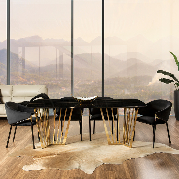 Onyx Dining Table with Black Elsa Chairs