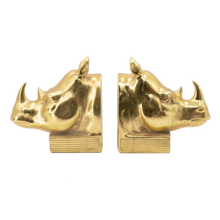 Gold Rhino Bookends