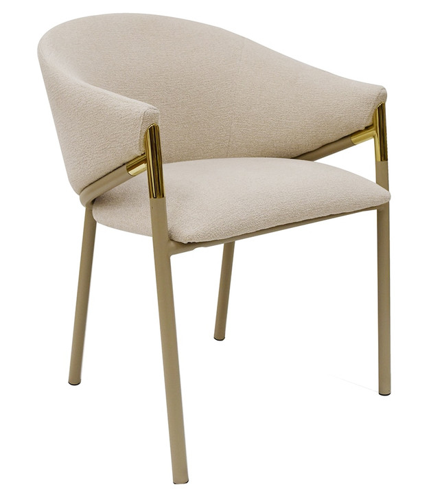 Elsa Beige Fabric Dining Chair with Beige Legs